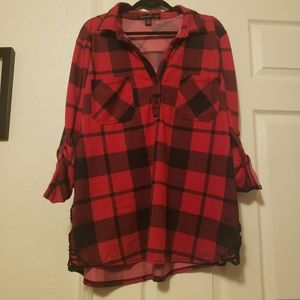 Plaid button up tunic top